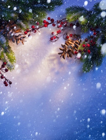 christmas snow: Blue Christmas snow background, frame of fir branches