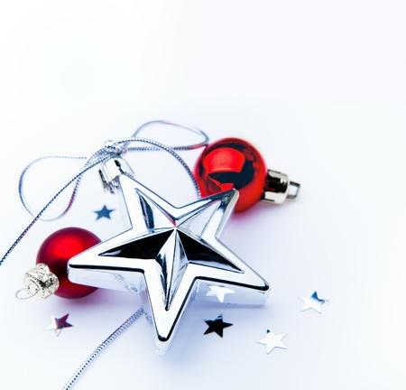 new year s eve: christmas decoration on white background