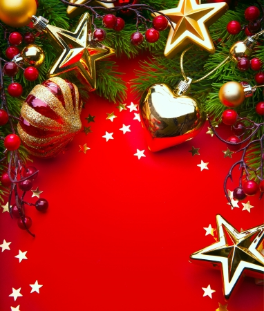 christmas cover: Design a Christmas greeting card with Christmas Decorations on a red background
