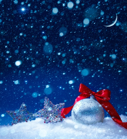 snow christmas magic lights background photo
