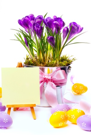 Happy Easter  Easter card with  easter eggs and spring flowers photo