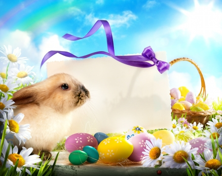 Easter card with Easter bunny and Easter eggs Stock Photo
