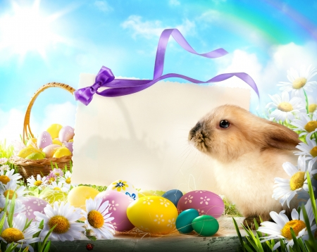 baby rabbit: Easter card with Easter bunny and Easter eggs Stock Photo