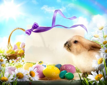 easter bunny: Osterkarte mit Osterhase und Ostereier Lizenzfreie Bilder