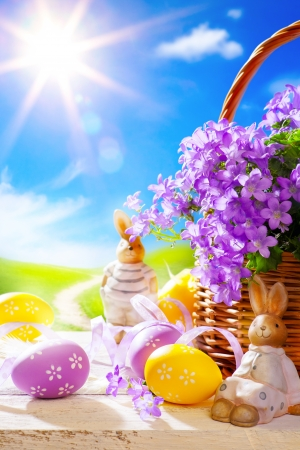 Easter bunny and Easter eggs Stock Photo - 18430439