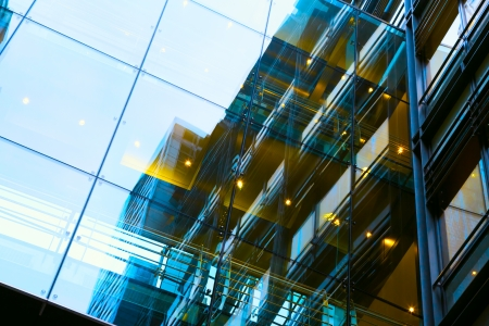 exterior architectural details: art exterior of modern glass business center