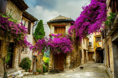 mediterranean houses: beautiful old town of Provence Stock Photo