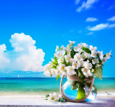 jasmine flower: seascape and jasmine flowers