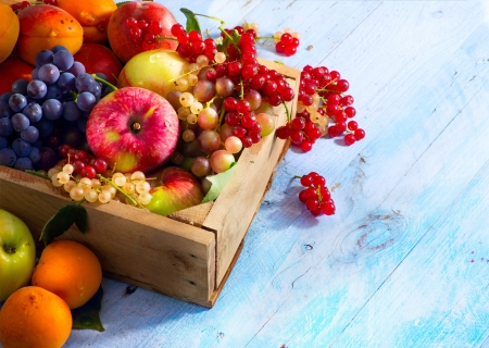 Art abstract market background fruits on a wooden background photo