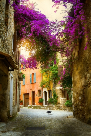 mediterranean houses: art beautiful old town of Provence Stock Photo