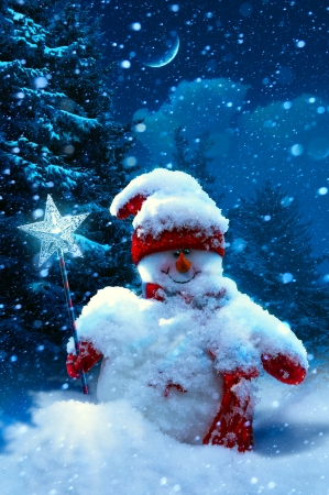 Art Christmas snowman and fir branches covered with snow photo