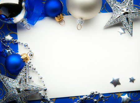 silver star: art Christmas greeting card Stock Photo
