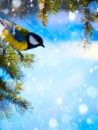 Christmas card with on the Christmas tree and snowflakes