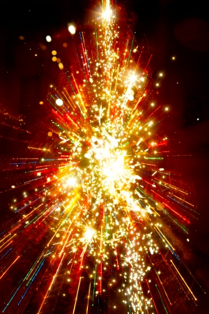 Abstract golden light christmas tree on red Stock Photo - 24195764