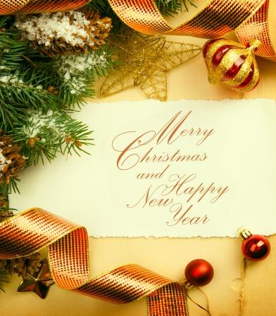 Art vintage Christmas greeting card Stock Photo - 24525135