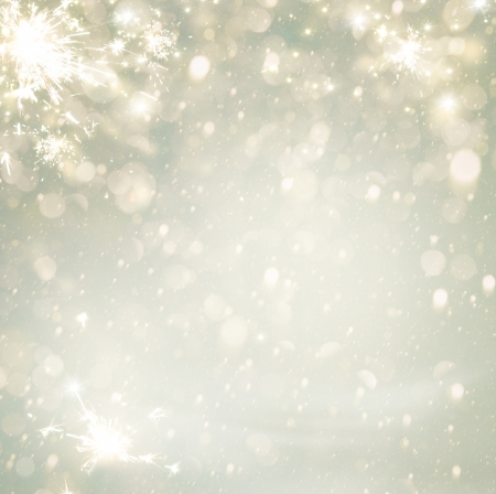 Abstract Christmas Golden Holiday Background Glitter\ Defocused Background With Blinking Stars. Blurred Bokeh
