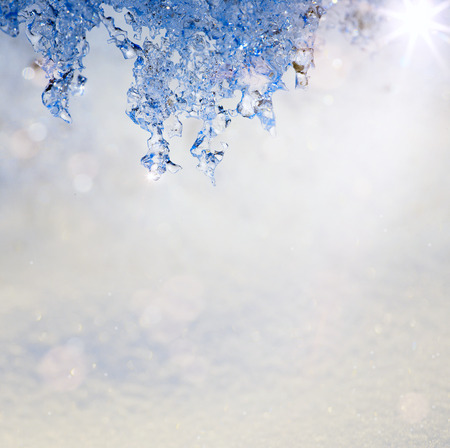 winter thaw: Art Spring Texture in the form of melting snow with a blue tinted Stock Photo