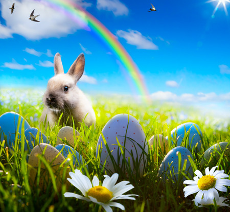 art easter bunny and easter egg on spring field photo