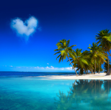 heart in sand: Art  beautifu tropical seascape Stock Photo