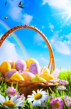 easter egg hunt: art Easter eggs on basket