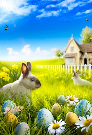 Art Easter bunny rabbit and easter eggs on meadow. Reklamní fotografie