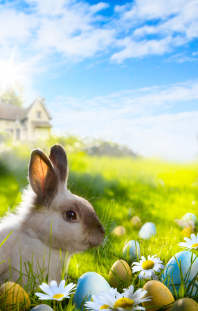 Art Colorful easter eggs and rabbit on green grass  photo