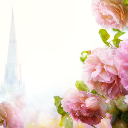 Beautiful floral border background  Stock Photo