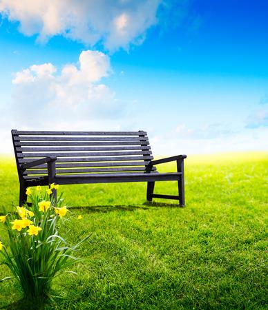 park bench: Abstract wooden garden bench at a park  Stock Photo