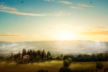 art morning Tuscany - scenic landscape, Italy photo