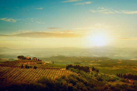 トスカーナ、イタリアの有名なブドウ園の伝統的なヴィラ