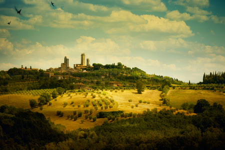 art Italian Tuscany San Gimignano Skyline photo