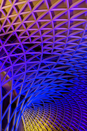 modern metal construction of the train station in London Kings Cross