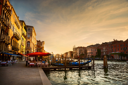 italian PEOPLE: Grand Canal after sunset, Venice - Italy Stock Photo