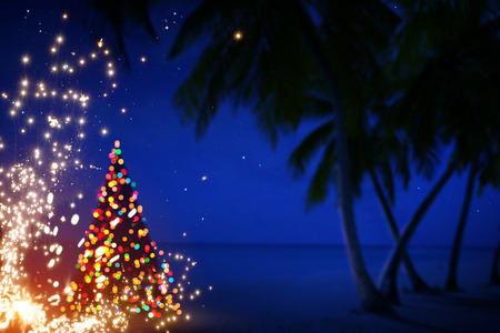 Art Christmas in Hawaii with Palm Trees and Stars 스톡 콘텐츠