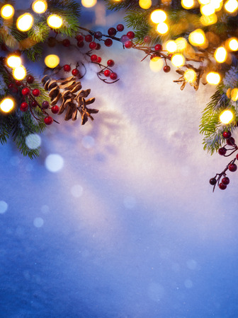 blue christmas background: Art snowy Christmas background;