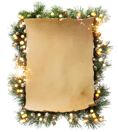 parchments: Art Winter Christmas frame Stock Photo