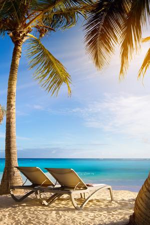 isla: art Deckchairs in tropical beach Stock Photo