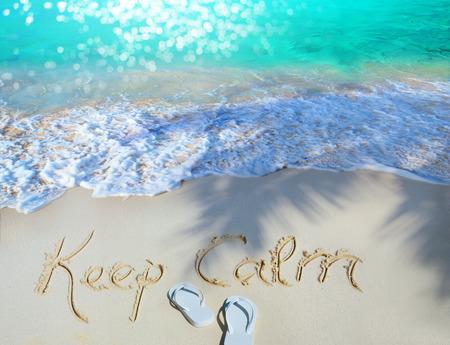 Summer concept of sandy beach, Keep calm motivational