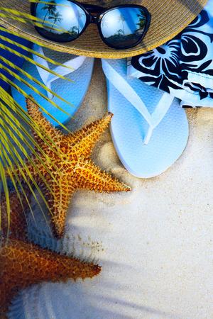 beach accessories on a deserted tropical beach