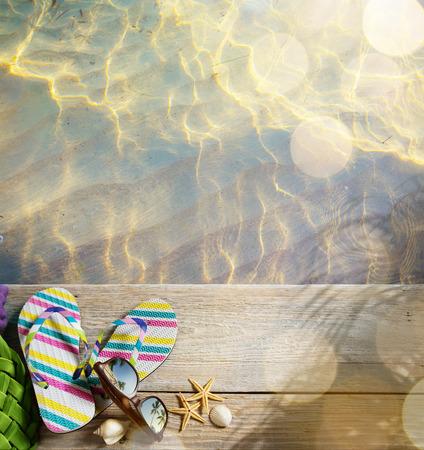 ar: ar beach summer;  beach accessories Stock Photo