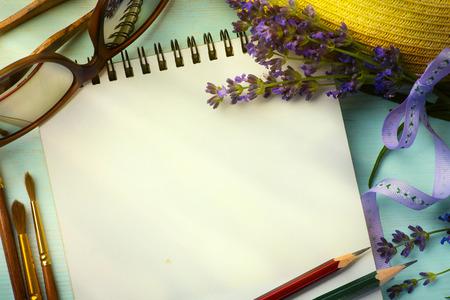 sketchbook: art morning in Provence; sketchbook and a bouquet of lavender