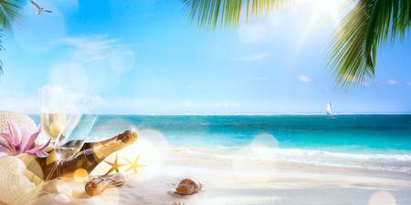 arte fiesta de luna de miel en la playa tropical