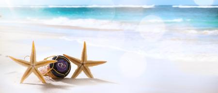 champagne: art wedding or honeymoon tropical beach party Stock Photo