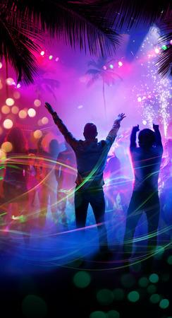fiestas discoteca: Arte noche tropical fiesta en la playa