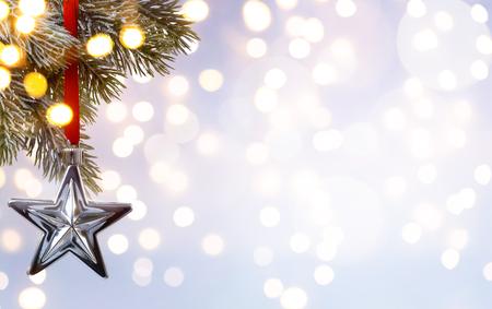 holiday ornament: Christmas holiday background; tree light Stock Photo