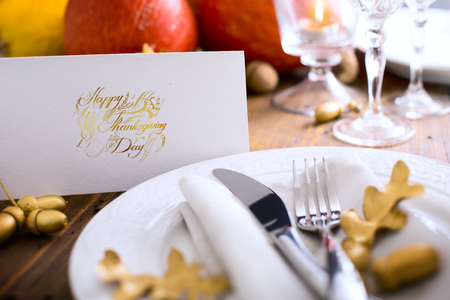 table decoration: Autumn table setting with pumpkins. Thanksgiving dinner and autumn decoration.