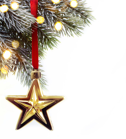 art Christmas fir twigs with Christmas decoration Standard-Bild