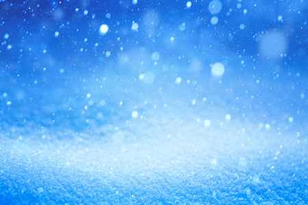 snow falling: Christmas Winter landscape with falling snow Stock Photo
