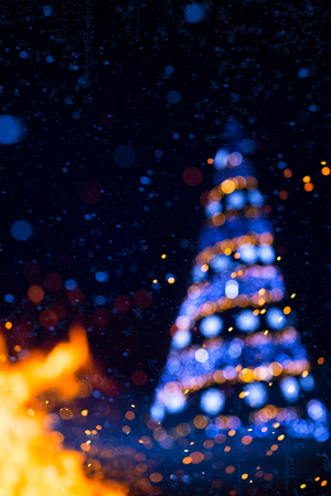 dark skies: Christmas holidays tree light  background