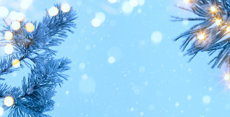 snow tree: Christmas tree and holiday light on blue snow background Stock Photo